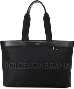rubberized logo tote - Black