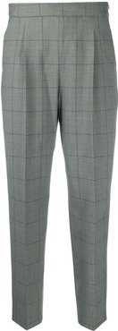 check-pattern tailored trousers - Green