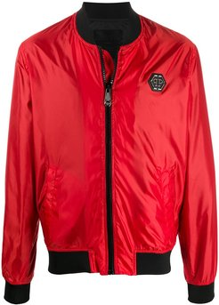 logo plaque bomber jacket - Red