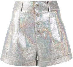 iridescent tailored shorts - SILVER