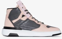 Pink and grey Wing leather high top sneakers