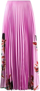 floral print pleated skirt - PINK