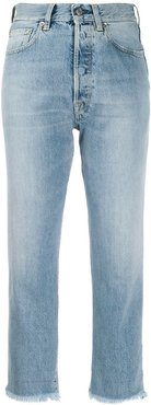 frayed cropped jeans - Blue