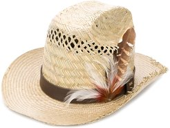 feather-embellishment hat - Neutrals