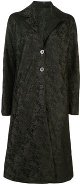 single-breasted abstract patterned coat - Green