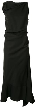 gathered asymmetrical midi dress - Black