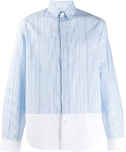 striped panelled shirt - Blue