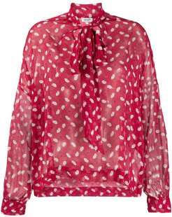 lips print pussybow blouse - Red