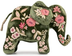 floral embroidered elephant - Green