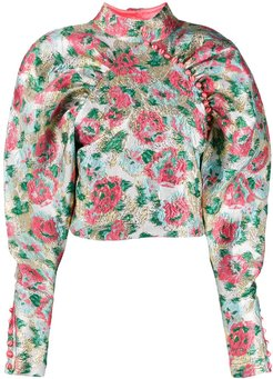 floral print mutton sleeve top - PINK