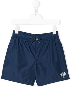 crown print swim shorts - Blue