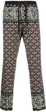 monogram print track pants - Black