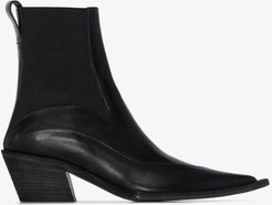 black 50 pointed leather ankle boots