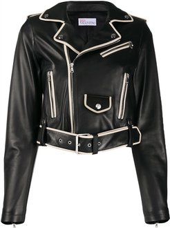 contrasting piping cropped jacket - Black