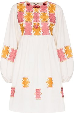 Lucie embroidered mini dress - White