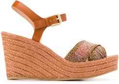 paisley-strap sandals - Brown