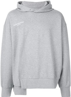 asymmetric logo embroidered hoodie - Grey