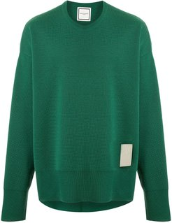 logo-patch knitted jumper - Green