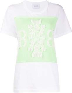 contrasting panel cotton T-shirt - White