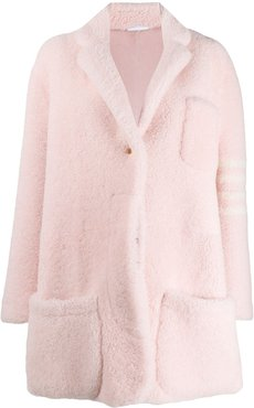 Cropped Dropped Shoulder Oversized Sack In Heavy Shearling w/ 4 Bar - PINK