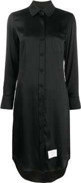 Classic Long Sleeve w/ Round Collar Shirtdress In Double Face Satin Chiffon - Black