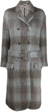 mohair-blend check coat - Grey