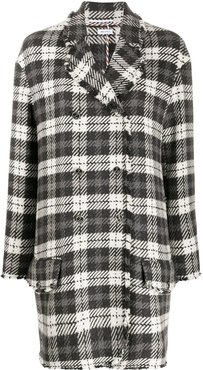 Unconstructed Round Collar Low Slung Sport Coat w/ Fray In Tartan Check Cashmere Tweed - Grey