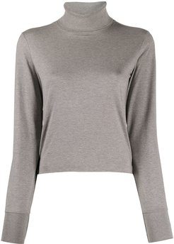 long sleeve turtle neck in light weight jersey - Grey