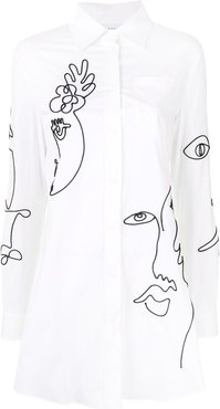 Cornely embroidered shirt dress - White