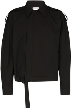 concealed-front shirt jacket - Black