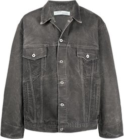 crumpled-effect denim jacket - Grey