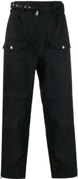 eyelet belt army trousers - Black