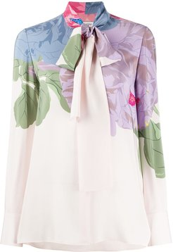 floral pussybow blouse - White