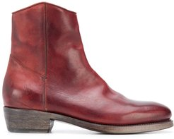 zipped ankle length boots - Red