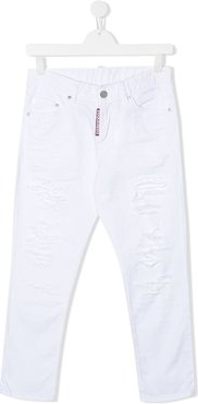 distressed-effect straight jeans - White