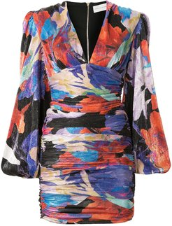 Belladonna abstract-print ruched mini dress - Multicolour