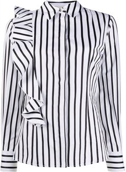 striped ruffle-trimmed shirt - White