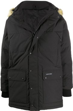 fur-trimmed quilted-down coat - Black