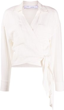 hem-knot wrap blouse - White