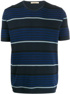 knitted striped T-shirt - Blue