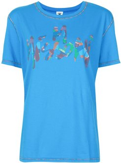 brushstroke logo T-shirt - Blue
