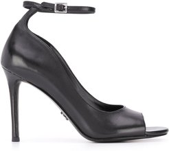 100mm heel peep toe sandals - Black