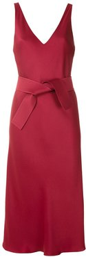 tie waist midi dress - Red