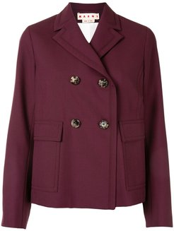 double-breasted short coat - Red