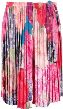 pleated floral print skirt - PINK
