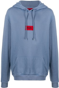 embroidered logo cotton hoodie - Blue