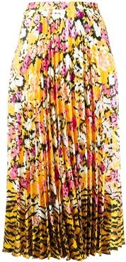 floral-print pleated skirt - Yellow