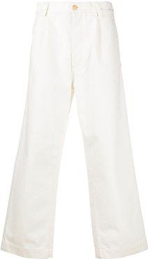 wide-leg textured jeans - White