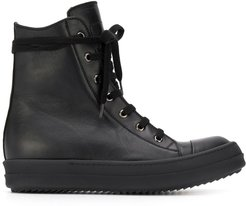 lace-up high top sneakers - Black