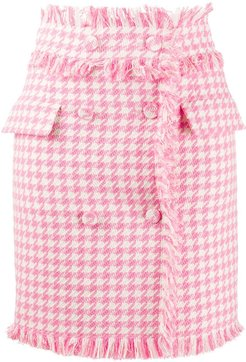 houndstooth frayed double-fastened skirt - PINK
